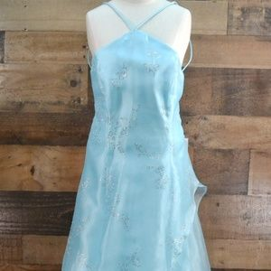 Blondie Nites Prom Dress Blue Crystals Lace Up S 5